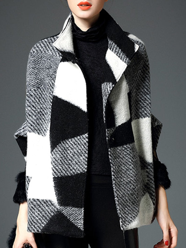 Shawl Collar Long Sleeve Geometric Color-Block Coat