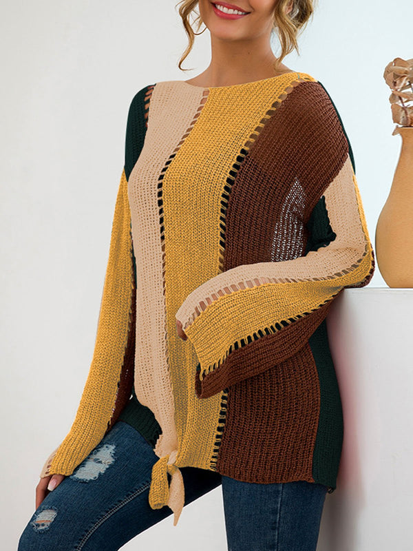 Color-Block Solid Casual Sweater