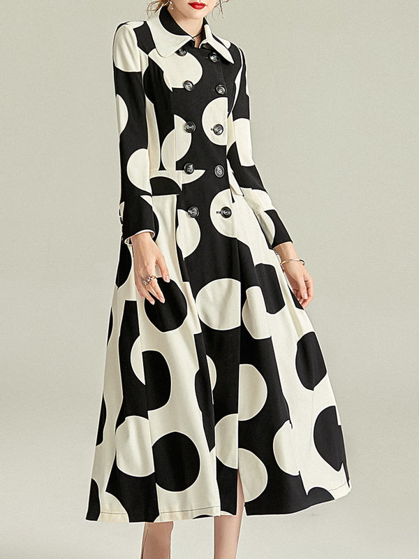 Geometric A-Line Printed Pockets Elegant Maxi Dress