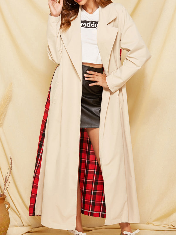 Casual Date Checkered Trench Coat