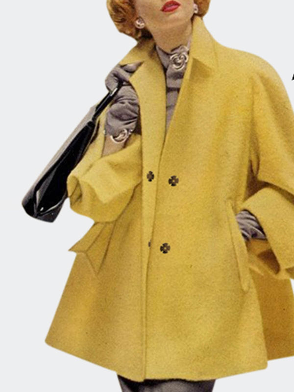 Yellow Long Sleeve Elegant Coat
