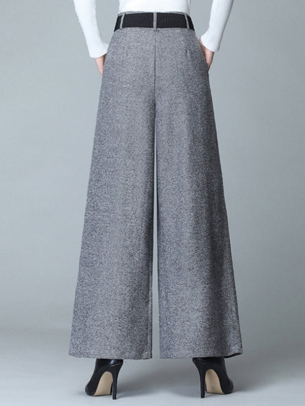 Casual Buttoned Pockets Wide Leg Pants