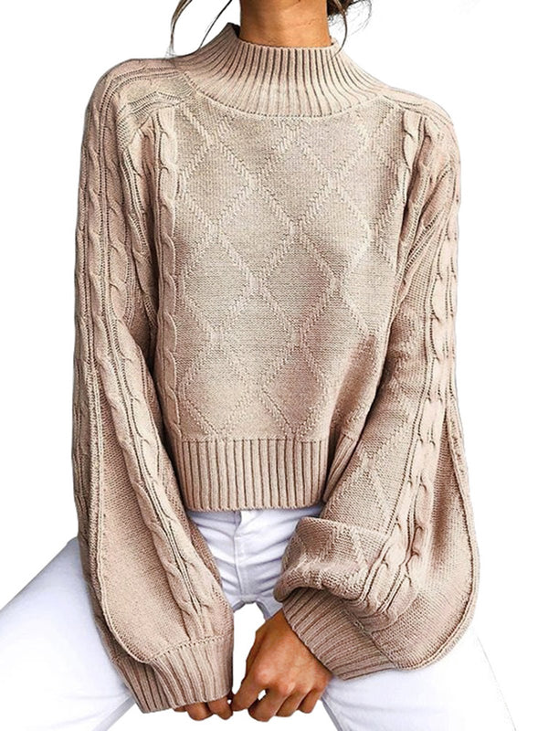 Daily Casual Balloon Sleeve Knitted Sweater