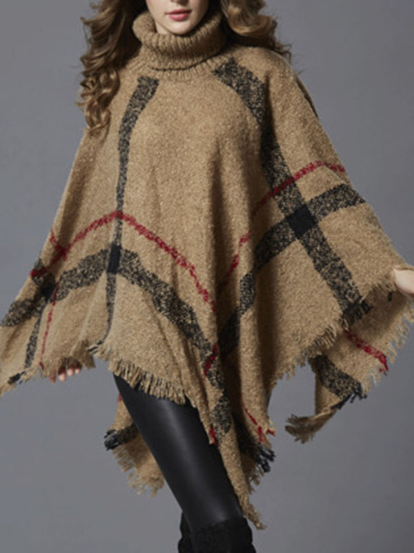 Checkered Casual Fringed Poncho And Cape