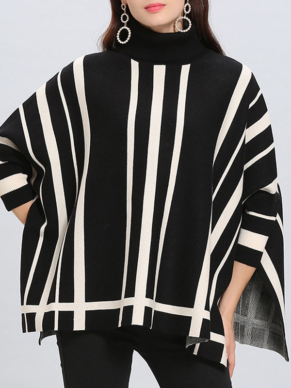 Turtleneck Striped Casual Shift Sweater