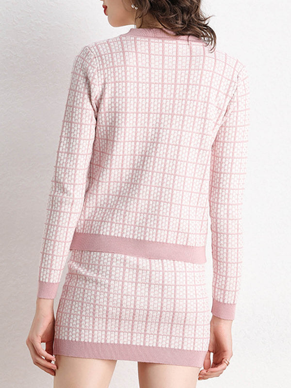 Pink Checkered Elegant Dress With Coat Set