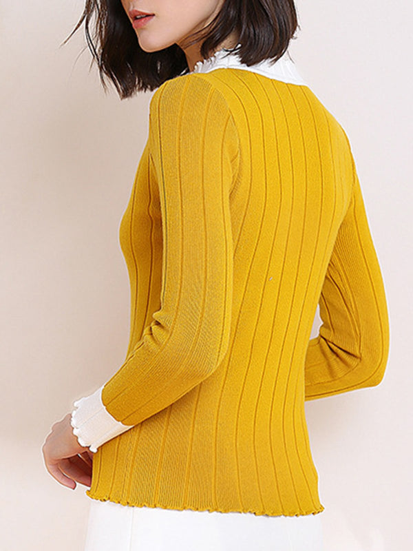 Yellow Sheath Work Paneled Knitted Sweater