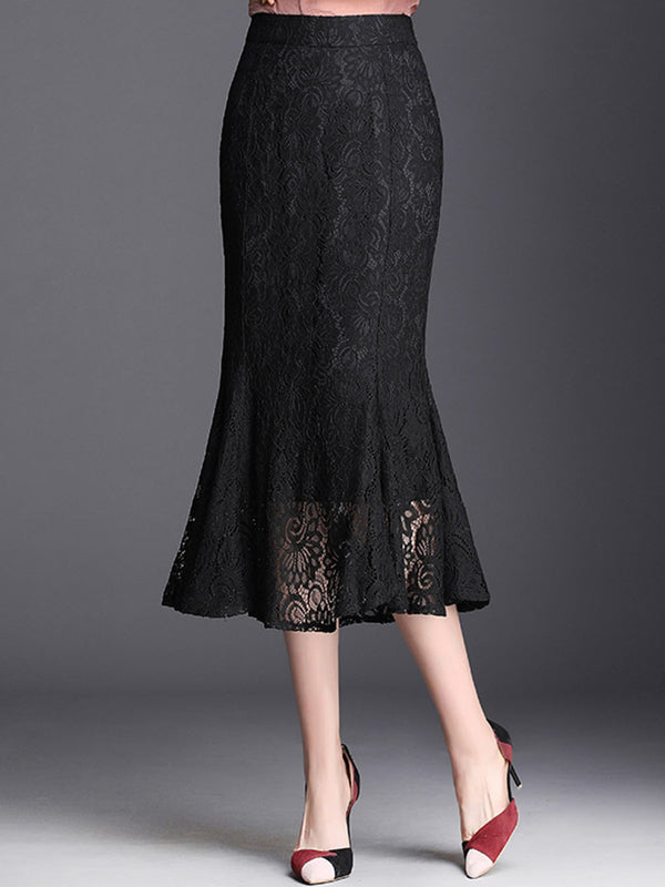 Black Solid Elegant Lace Skirt