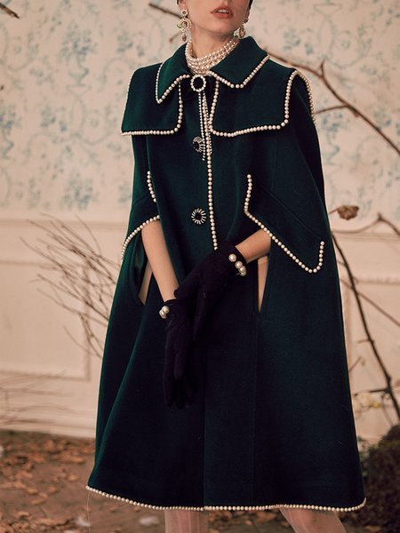 Dark Green Beaded Elegant Poncho And Capes