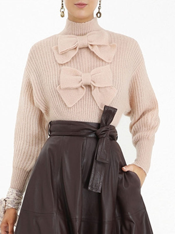 Pink Bow Long Sleeve Elegant Sweater