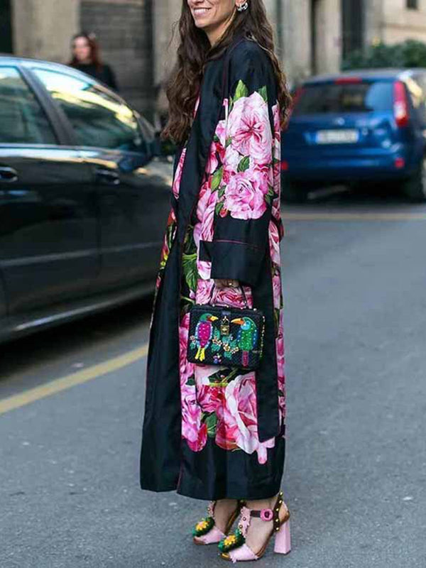Casual Date Going Out Printed Floral Coat