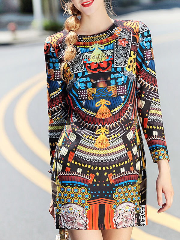 Multicolor Tribal Sheath Printed Casual Mini Dress