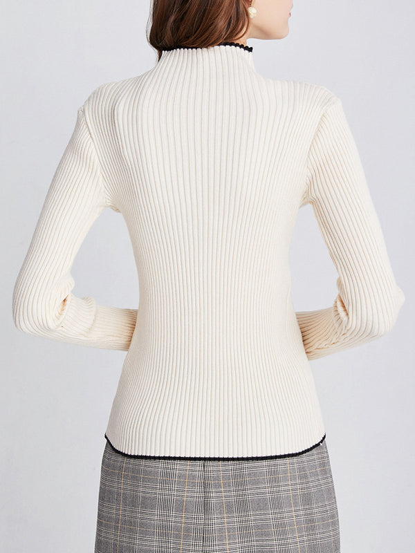Long Sleeve Elegant Solid Sweater