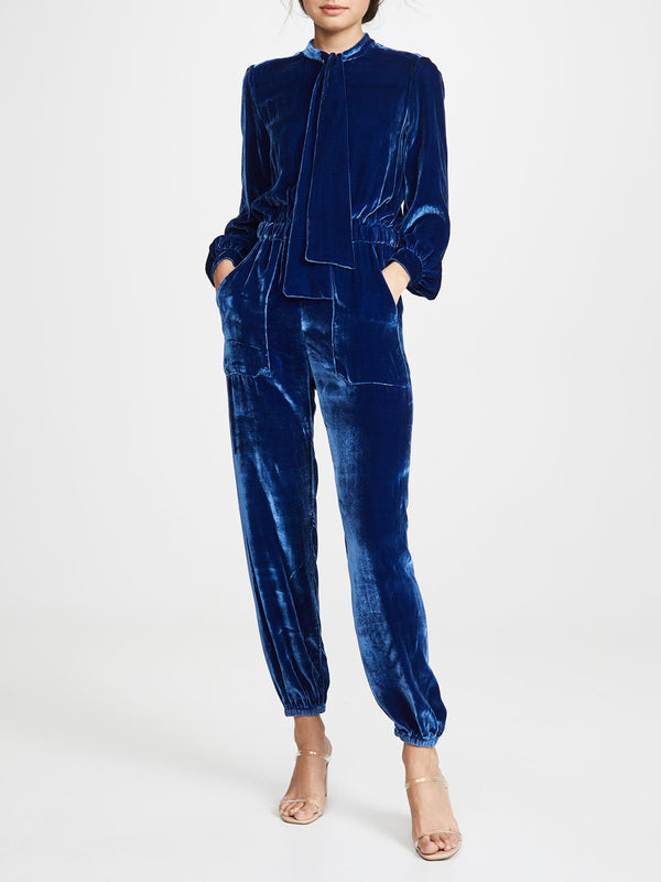 Daily Blue Solid Casual Jumpsuit