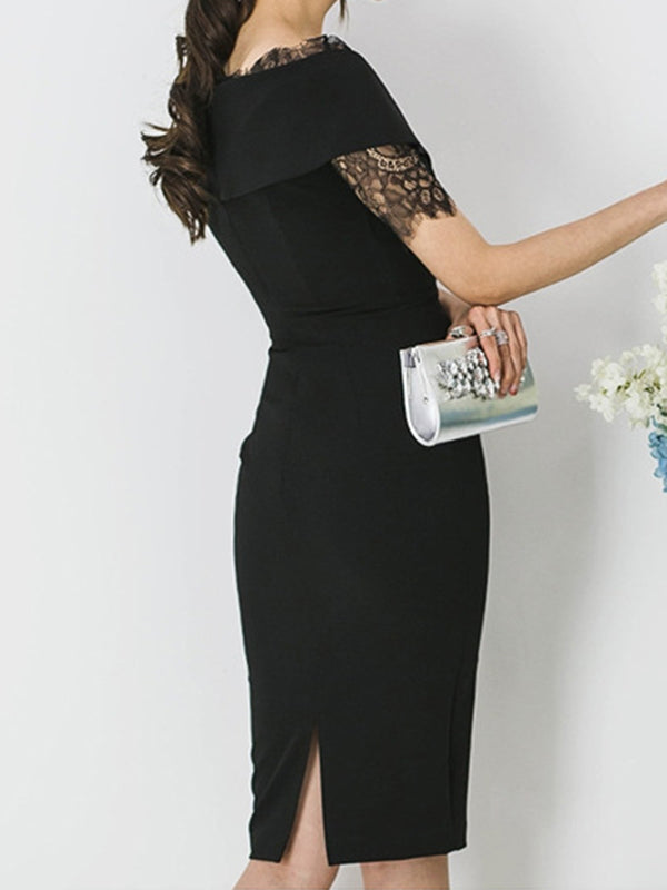 V Neck Black Bodycon Work Lace Slit Work Midi Dress