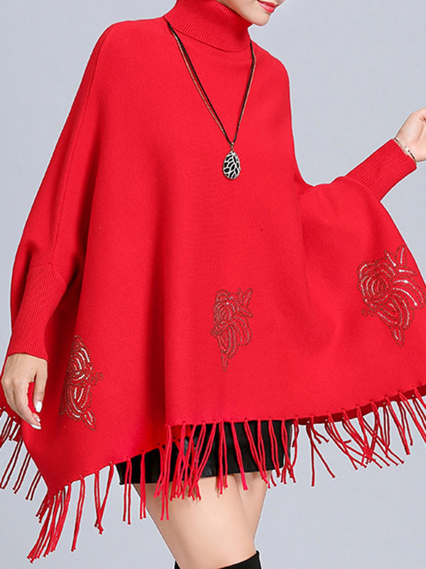 Floral Batwing Fringed Casual Sweater