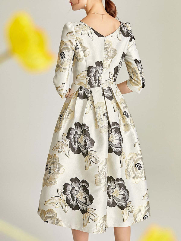 Printed Floral A-Line Going Out Elegant Midi Dress