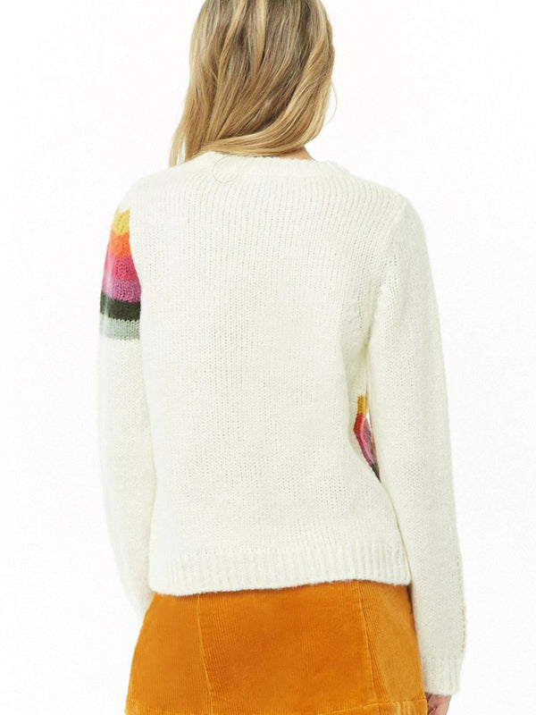 Striped Long Sleeve Color-Block Casual Sweater