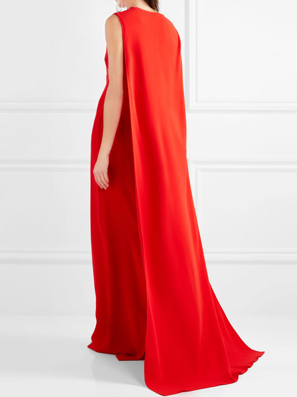 Red Elegant Evening Maxi Dress
