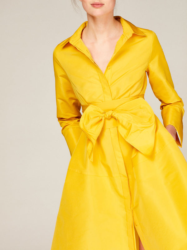 Shirt Collar Date Solid Elegant Midi Dress