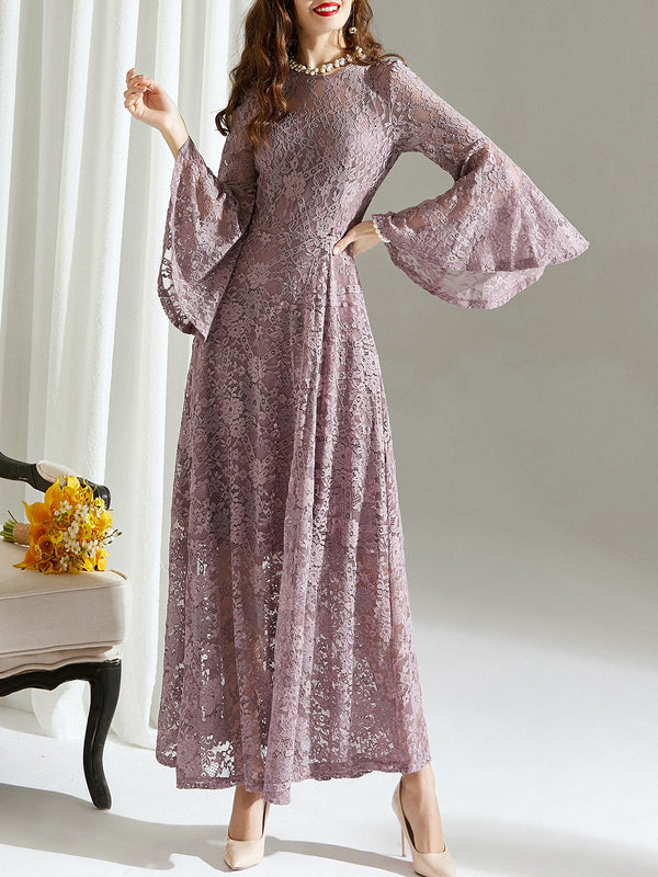 Daily Elegant Guipure Lace Maxi Dress