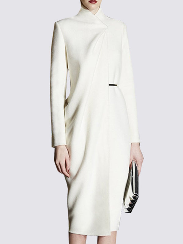 White Sheath Knitted Elegant Midi Dress