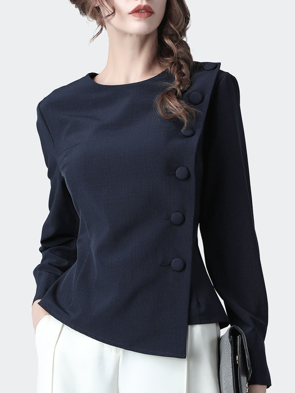 Navy Blue Casual Buttoned Asymmetric Blouse