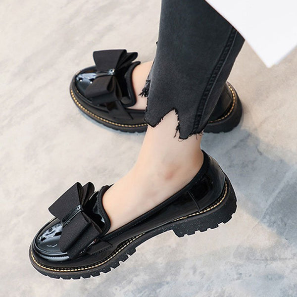 Women Casual Round Toe Chunky Heel Loafers