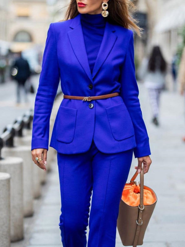 Royal Blue Lapel Long Sleeve Suits