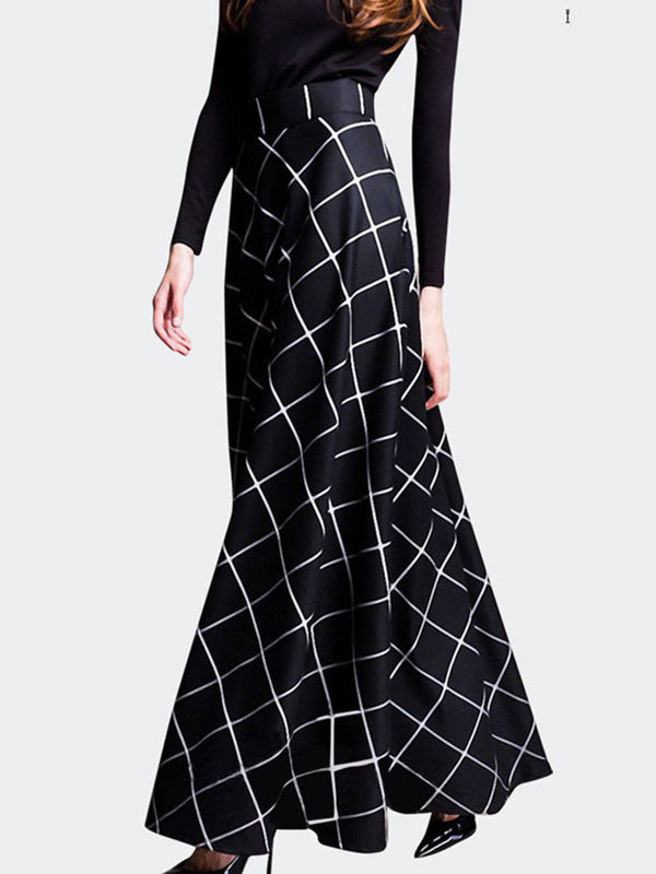 Black Checkered Zipper Elegant Maxi Skirt
