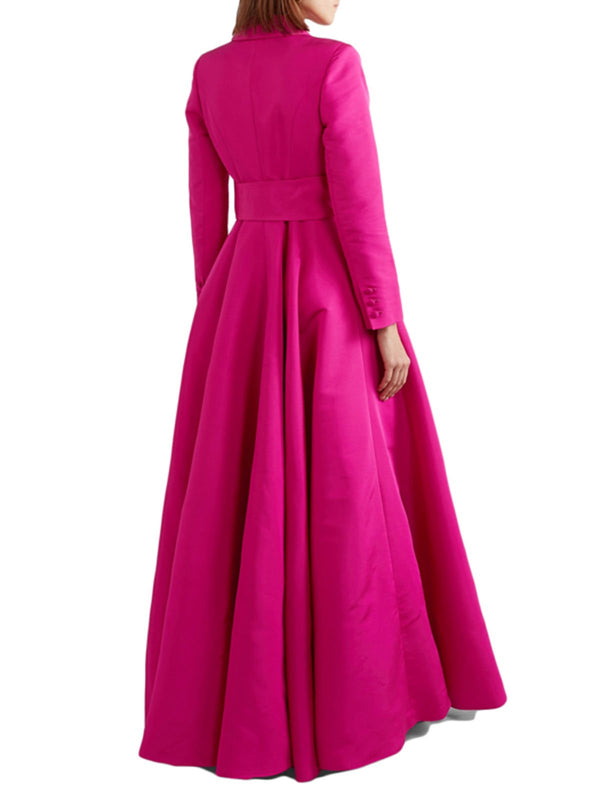 Lapel Rose Ball Gown Prom Elegant Maxi Dress