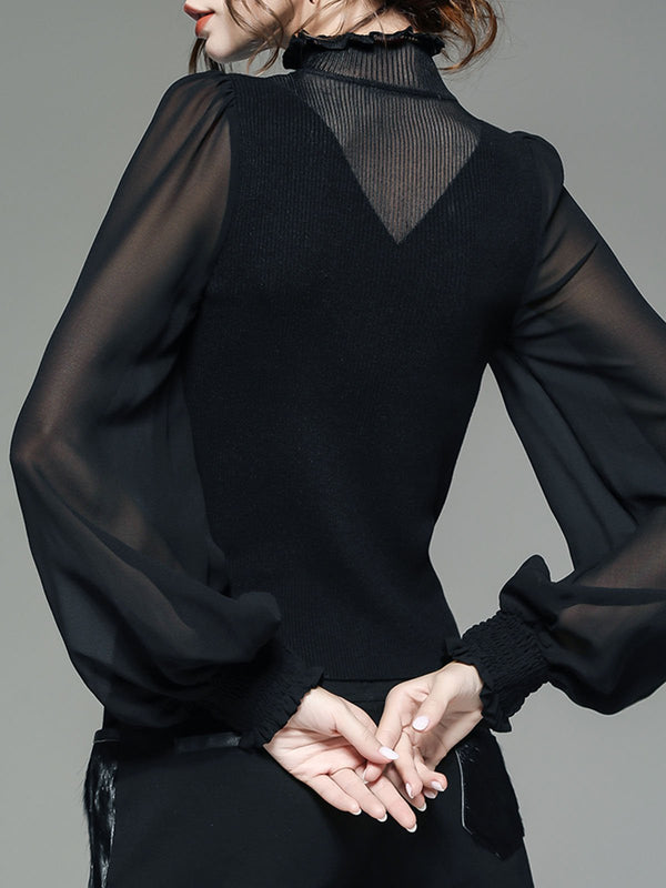 Black Paneled Long Sleeve Elegant Work Top