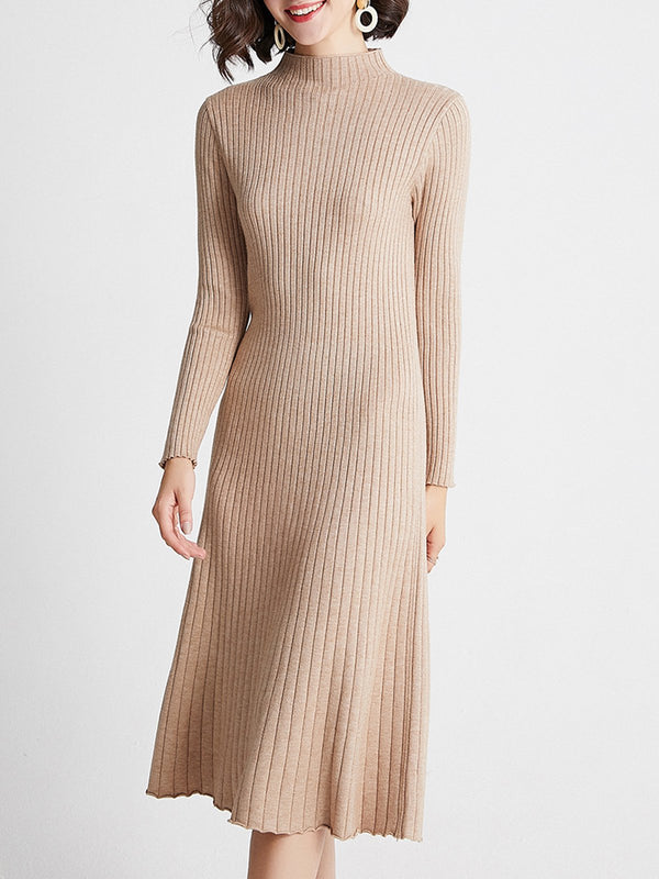 Stand Collar Ribbed Solid Casual Sweater Dress