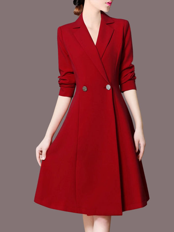 Lapel Red A-Line Work Elegant Midi Dress