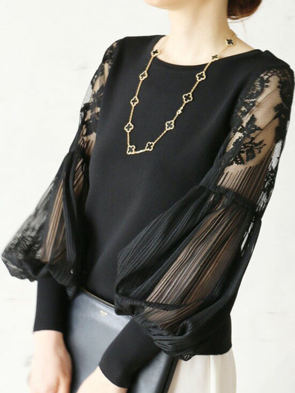 Black Elegant Crew Neck Paneled Top
