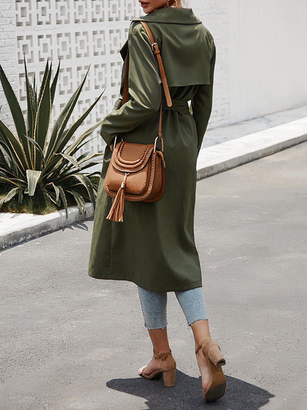 Army Green Casual V Neck Pockets Trench Coat