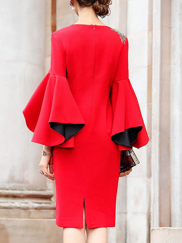 Red Sheath Bell Sleeve Elegant Midi Dress