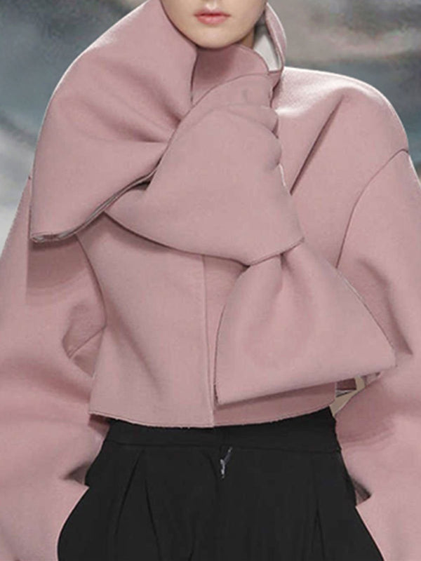 Pink Casual Bell Sleeve Buttoned Cropped Jacket