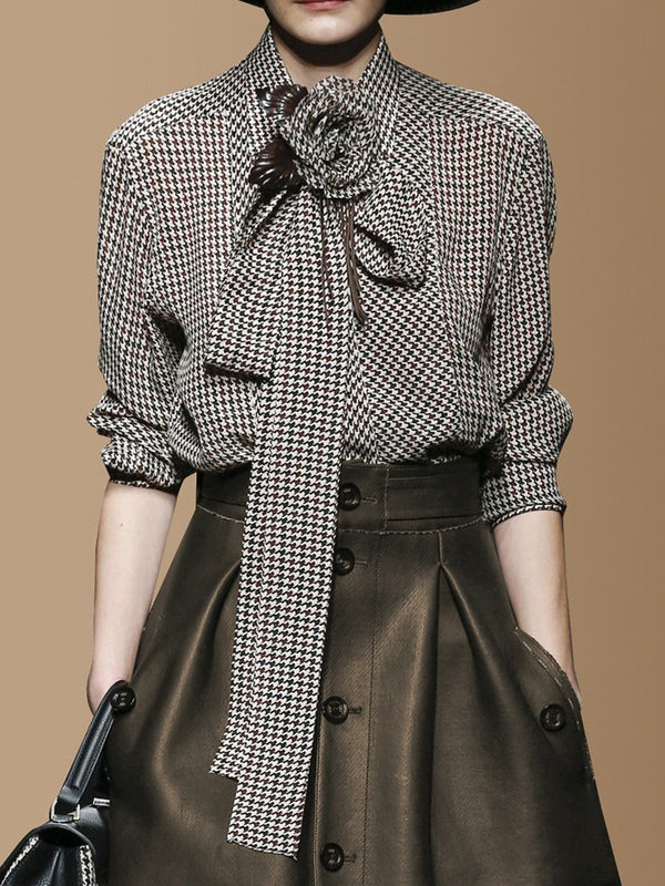 Shirt Collar Elegant Houndstooth Work Blouse