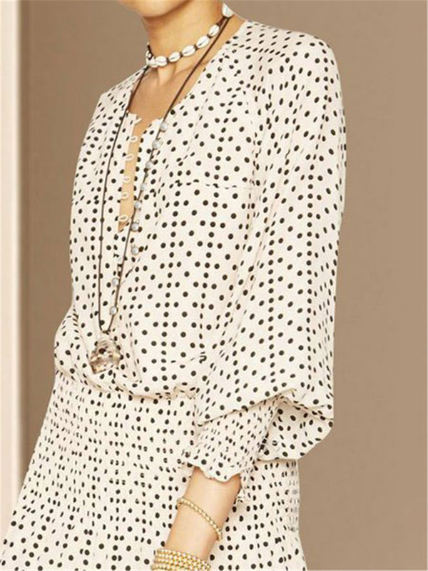 Sweet Balloon Sleeve Daily Date Polka Dots Mini Dress