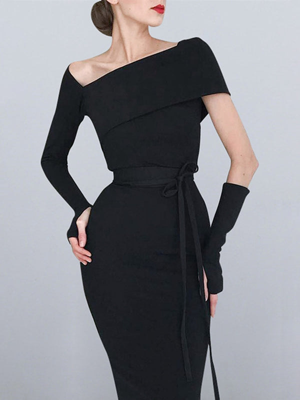 Black Bodycon Cocktail Elegant Solid Midi Dress