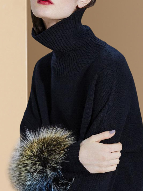 Black Casual Sheath Turtleneck Sweater