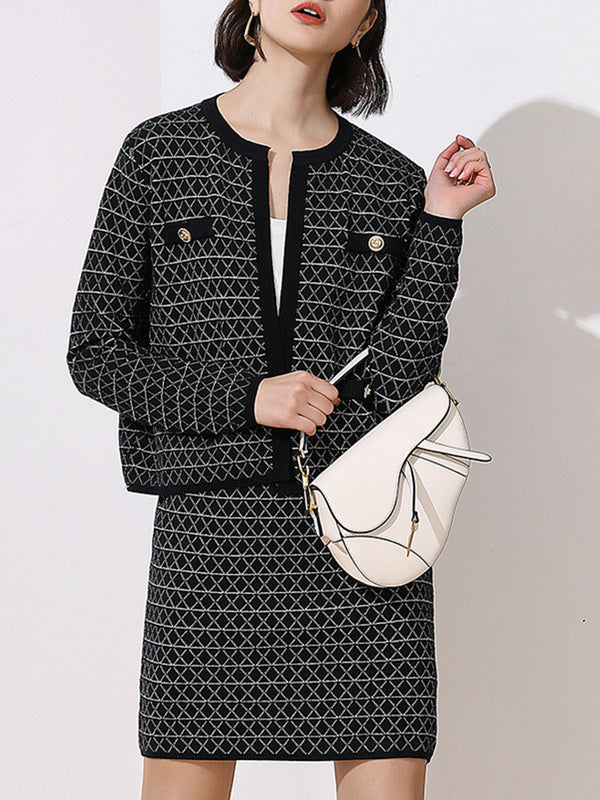 Geometric Elegant Buttoned Coat with Skirt Knit Set