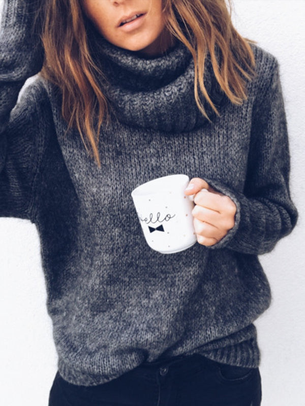 Black Casual Solid Knitted Sweater