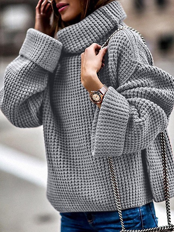 Gray Shift Long Sleeve Turtleneck Casual Sweater