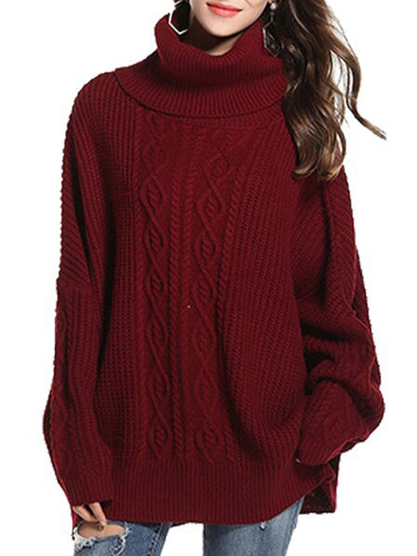 Casual Cowl Neck Knitted Casual Shift Sweater