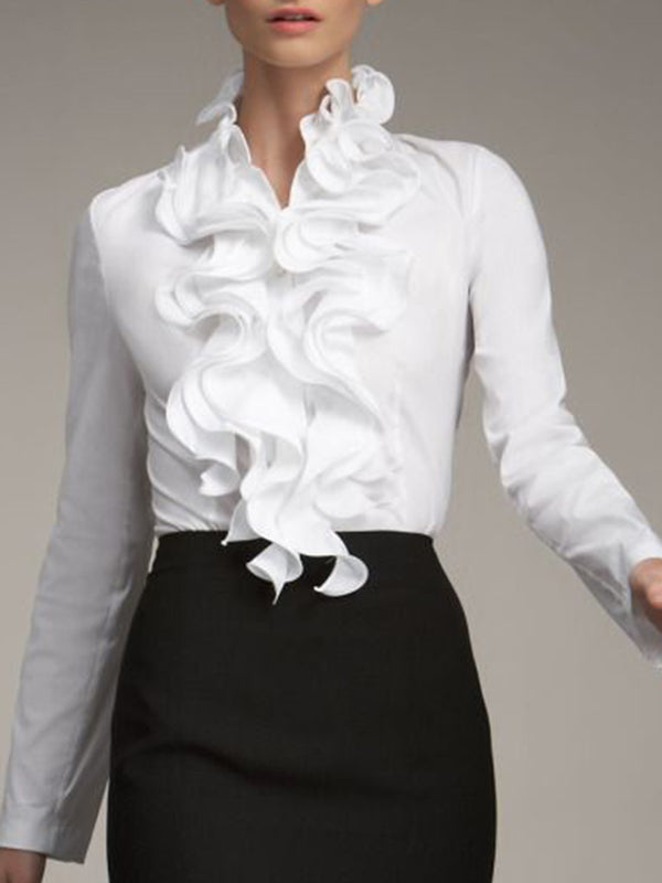 White Ruffled Long Sleeve Work Elegant Top