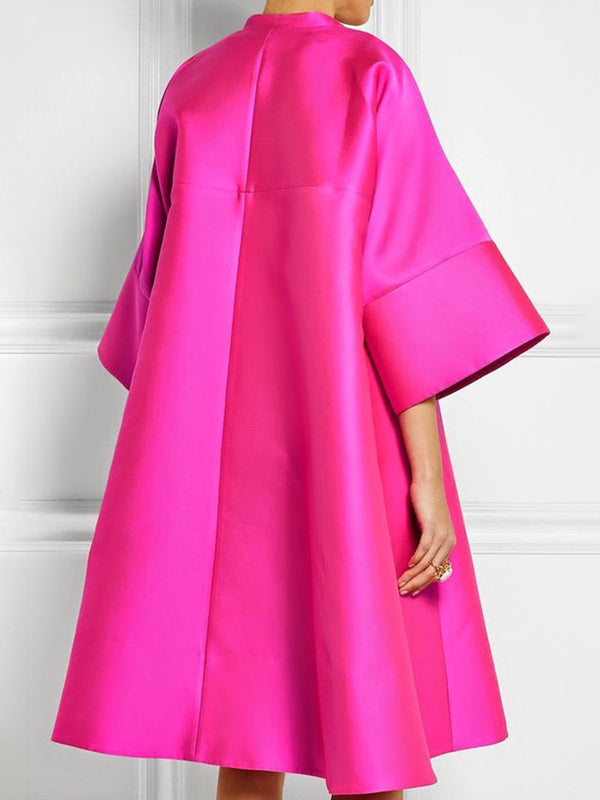 Lapel Fuchsia Shift Solid Casual Midi Dress
