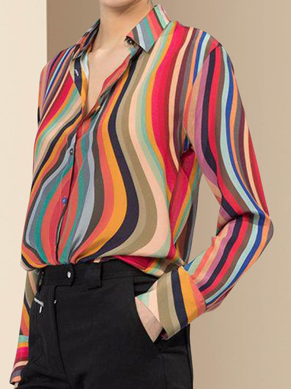 Shirt Collar Color-Block Buttoned Elegant Blouse