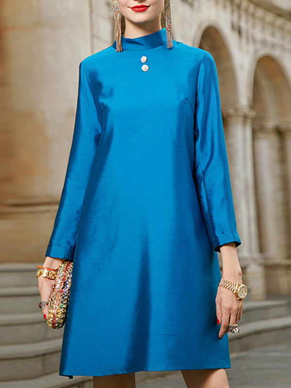 Stand Collar Blue Shift Elegant Mini Dress